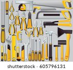 vector icons of hand tools.... | Shutterstock .eps vector #605796131