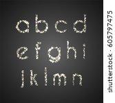 set of glittering lowercase... | Shutterstock .eps vector #605797475