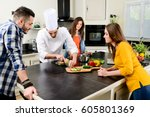professional personal chef cook ... | Shutterstock . vector #605801369