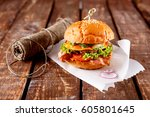 closeup of a burger piled with... | Shutterstock . vector #605801645