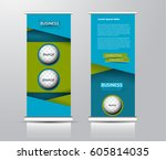 roll up vertical banner... | Shutterstock .eps vector #605814035