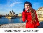 bright in paris. happy young...   Shutterstock . vector #605815889