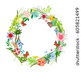 the flowers background is.... | Shutterstock .eps vector #605821499