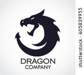 silhouette dragon stylized logo   Shutterstock .eps vector #605839955