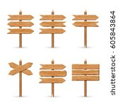 wooden arrow signs board set.... | Shutterstock .eps vector #605843864
