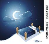 bed under beautiful night sky | Shutterstock .eps vector #60585100