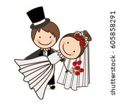 happy couple married icon ... | Shutterstock .eps vector #605858291