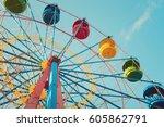 Retro Colorful Ferris Wheel Of...