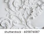 luxury white wall design bas... | Shutterstock . vector #605876087