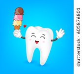 tooth character with ice cream... | Shutterstock .eps vector #605876801