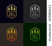 camp tent and trees graphic... | Shutterstock .eps vector #605883611