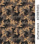fashionable camouflage pattern  ... | Shutterstock .eps vector #605885681