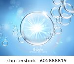 water bubbles with shining... | Shutterstock . vector #605888819