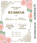 wedding invitation with flowers ... | Shutterstock .eps vector #605893679