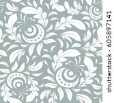 damask seamless doodle pattern... | Shutterstock . vector #605897141