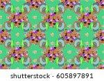 textile print for bed linen ...   Shutterstock . vector #605897891