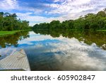 front of a boat on a river in...   Shutterstock . vector #605902847