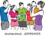 runners team group drinking...   Shutterstock .eps vector #605904455