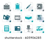 stylized business and office... | Shutterstock .eps vector #605906285