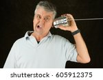 funny face frustrated man on...   Shutterstock . vector #605912375