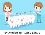 cute cartoon dentist with white ... | Shutterstock .eps vector #605912579