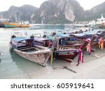 long tail boats at tonsai pier  ... | Shutterstock . vector #605919641