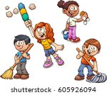 cartoon kids cleaning up.... | Shutterstock .eps vector #605926094
