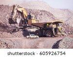 big shovel loading of copper... | Shutterstock . vector #605926754
