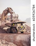 loading of copper ore on very... | Shutterstock . vector #605926784