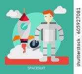spacesuit conceptual design | Shutterstock .eps vector #605927081