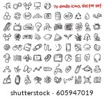 vector doodle icons set. stock... | Shutterstock .eps vector #605947019