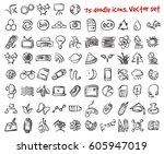 vector doodle icons set. stock... | Shutterstock .eps vector #605947019