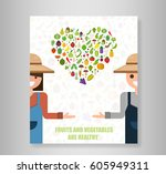 book heart vegetables fruits ... | Shutterstock .eps vector #605949311