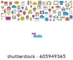 all line icons color of... | Shutterstock .eps vector #605949365