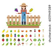isolated vegetables fruits ... | Shutterstock .eps vector #605949389