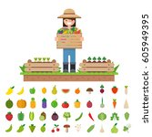 isolated vegetables fruits ... | Shutterstock .eps vector #605949395