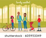 big happy family in the park.... | Shutterstock .eps vector #605953349