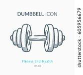 dumbbell icon isolated on white.... | Shutterstock .eps vector #605956679