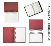 Red Notebook collection isolated on white background - stock photo