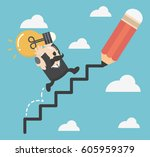 businessman draws stairs and... | Shutterstock .eps vector #605959379