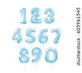 metallic blue letter balloons... | Shutterstock .eps vector #605961545