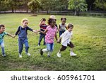 happiness group of cute and... | Shutterstock . vector #605961701