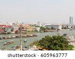 bangkok  panorama view. chao... | Shutterstock . vector #605963777
