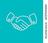 handshake icon vector. | Shutterstock .eps vector #605969684