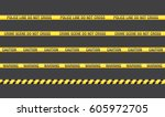 yellow with black police line... | Shutterstock .eps vector #605972705