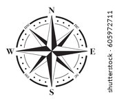 a vector compass rose with... | Shutterstock .eps vector #605972711