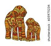 doodle indian elephant. perfect ... | Shutterstock . vector #605975234