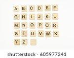 uppercase alphabet letters on... | Shutterstock . vector #605977241