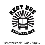 bus trip and travel badge logo... | Shutterstock .eps vector #605978087