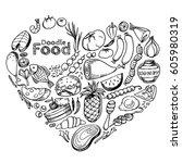 food doodles set  hand drawn... | Shutterstock .eps vector #605980319